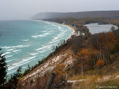 The Great Lakes (JamesEyeViewPhotography) Tags: lake michigan empire bluffs water waves greatlakes sky sand snow squall autumn fall colors trees beach northernmichigan nature november landscape lakemichigan sleepingbeardunes nationallakeshore winter wind storm jameseyeviewphotography
