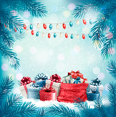 Holiday Christmas background with sack full of gift boxes and 2018. Vector (everythingisfivedollar) Tags: tree greeting red january new sign vector holiday symbol template xmas christmas card bow gift label snowflake box season number sack retro design color winter merry december banner art background snow party branch nature message happy present year ribbon 2018