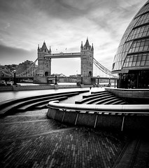 Just A Scoop (TS446Photo) Tags: london nikon d810 zeiss gitzo dxo silverefex adobe tower bridge towerbridge mono mayor monochrome black white steps scoop southbank thames sunrise morning lines leading water
