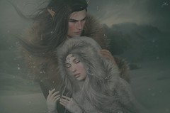 Julian and Aleriah~Feeling Safe and Warm... (Skip Staheli *FULLY BOOKED*) Tags: aleriahjacobsen skipstaheli secondlife sl avatar virtualworld dreamy digitalpainting winter snow snowflakes cold fantasy couple mountain fur love romantic