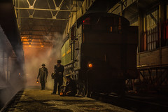 Checking the lamps (Nimbus20) Tags: didcit gwr tankengine loco crew lamps shed depot steam smoke engine tle charter night cold driver fireman