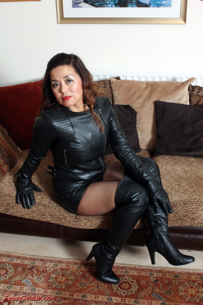 Asian milf in knee high boots
