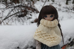 Disfrutando del frío... (Ninotpetrificat) Tags: snow poncho crochet hobby handmade hechoamano nieve ddh10 dd dollfie dollfiedream mdd muñeca puppe doll dollclothes cute kawaii japantoy japandoll toys