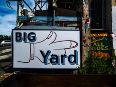 Big Yard (Steve Taylor (Photography)) Tags: funlands special allrides 99p bigyard peeling sign scaffold scaffolding uk gb england greatbritain unitedkingdom margate plant finger pointing