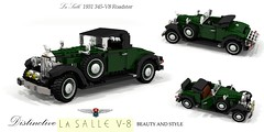 LaSalle 1931 345-V8 Roadster (lego911) Tags: lasalle 1931 1930s classic vintage roadster convertible jump seat gm general motors v8 345 auto car moc model miniland lego lego911 ldd render cad povray usa us america luxury cadillac