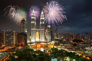 Fireworks over Kuala Lumpur city, Kuala Lumpur Malaysia