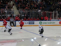 moment of the game (VERUSHKA4) Tags: hockeystick moment referee canon europe russia moscow city rink skates player sport hockey autumn wintersports november fragment season coach ice man sportsman fans spectator fan action movement