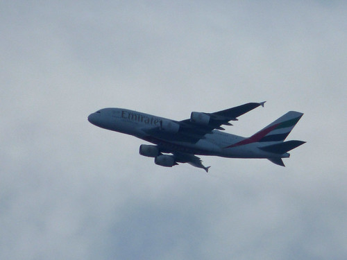 Emirates Airbus A380 seen from Bedworth Station