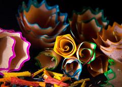 Roses de Bois (MacMyc) Tags: macro macrophotography grosplan closeup reverselens reversedlens objectifinversé pensil crayon chip shavings copeaux épluchures pencillead minedecrayon coloré colorful canon700d raw lightroom blur flou lampetorche flashlight torchlight