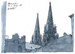 Clermont-Ferrand, gla gla (gerard michel) Tags: france auvergne clermontferrand cathédrale sketch croquis watercolour