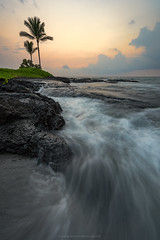 Big Island Flow (Bob Bowman Photography) Tags: ocean sea water sunset tree palm hawaii clouds warm island pacific seascape