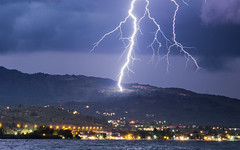 Charge (free3yourmind) Tags: lightning charge electric night thunder storm strike flash clouds lights houses sea close aigio egio greece peloponnese achaea
