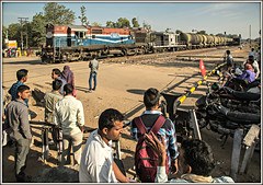 Social time (david.hayes77) Tags: ringasjunction reengus india rajasthan 2016 bg broadgauge people humanity riders pedestrians alco wdm3a 18705 tankers oil train ir indiarailways nwr freight goods herohondamotorbike semaphores levelcrossing