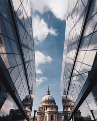 St Paul's (Borlorgraphy) Tags: reflections architecture clouds sky landmark london clear glass building modern urban