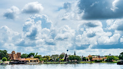 EPCOT Landscape (chadjholland) Tags: waltdisneyworld disneyworld waltdisney disney epcot clouds blue water lake green gold florida orlando travel