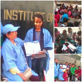 Blue Pen Volunteer Kavita Chaudhry receiving Internship Certificate from Dr Manorama Khanna, Chairman,Blue Pen