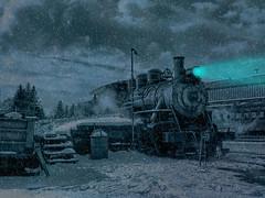 Night light (Sunset Sailor) Tags: steam train engine locomotive 97 ironhorse light night snow winter tracks railroad