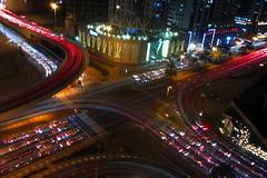 intersection (amazingstoker) Tags: al falak street naseem st alkhayay media city dubal uae light trail flyover evening night