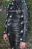 Locked up (leatherman2011) Tags: leather bondage catsuit restrained locked hood strait jacket