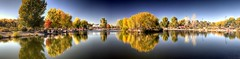 Tingley Beach Middle Pond (JoelDeluxe) Tags: tingley beach abq bosque albuquerque dukecity nm newmexico biopark ponds fall colors red orange yellow green blue ducks wildlife fishing recreation landscape panorama hdr joeldeluxe