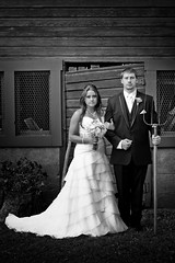 American Gothic Redux (Camelot Photography Minnesota) Tags: mn minnesota married man weddings wedding weddingphotography weddingphotographer amazing awesome architecture bride best blackandwhite farm farmer farming love american gothic wisconsin barn camelotphotography cool groom great pitchfork