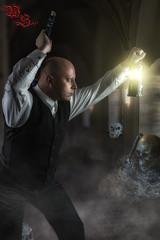 Victorian Demon Hunter (w.lichtmagie) Tags: composing darkart canonefs1585 strobist strobistinfo photoshop schwert horror entfesselterblitz