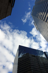 Trois bâtiments au centre-ville de Montréal (Three Buildings in Downtown Montreal) (JB by the Sea) Tags: montreal montréal quebec québec canada september2017 sky cloud clouds