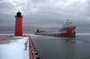 Cold Reminder (MalaneyStuff) Tags: milwaukee wisconsin snow cold ice ship shipping lighthouse usa lakemichigan nikon d5100 paintshop clouds winter