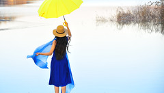I wish it would rain.. (daniel0027) Tags: bluedress woman yellowumbrella geosanchungbuk reservoir moonkwangreservoir wish hat water reflection ripple