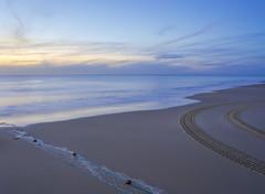End & Beginning (Quasqua) Tags: plage carcans nouvelleaquitaine france fr europe net fish trace wheel sunset cold yellow cloud longexposure waves reflect nd4 beach sky atlanticocean atlantic 500px coast