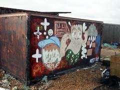 Dungeness Visit - Autumn 2017 - 4 (the justified sinner) Tags: justifiedsinner graffiti shippingcontainer dungeness kent beach sea seaside boats ship panasonic 17 20mm gx7