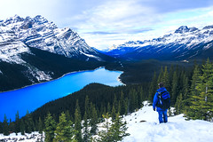 Peyto Lake (Bluesky251) Tags: alberta alone banff banffnationalpark beautiful blue canada cloud cloudline cold colorful daylight daytime forest freeze frozen green hiking lake landscape light mountains natural nature outdoor peak person peyto peytolake rock season sky skyline snow tour tourist travel traveler tree visitor water weather white winter view
