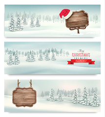 Holiday Christmas banners with winter landscare and wooden sign. Vector. (everythingisfivedollar) Tags: tree snowfall greeting hat red new sign vector holiday celebrate celebration xmas old christmas card gift abstract snowflake season object wood retro frame forest winter colorful merry december outdoors banner art santa wooden vintage background board snow nature happy present landscape year