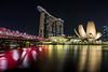 Singapore (Piotr_PopUp) Tags: singapore marinabaysands artsciencemuseum helixbridge cityscape city longexposure slowshutter reflection night nightlights nightshot nightphotos water waterfront