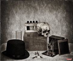 221B Baker Street (MBates Foto) Tags: blackandwhite chemistry forensic monochrome nikkorlense nikon nikond810 sepia studio spokane washington unitedstates 99203