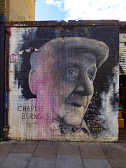 Charlie Burns 1915-2012 (Steve Taylor (Photography)) Tags: charlieburns raid1 benslow cap art graffiti portrait mural streetart memorial tribute black white pink man uk gb england greatbritain london unitedkingdom baconstreet