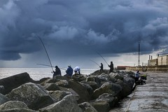 Fishing on the East Coast (Mark Tooke) Tags: fishing fishermen lowestoft suffolk sky stormclouds clouds