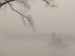 Castle in the Fog - From a moving train