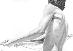 *Hauling in the Net - 1* (Dennis Candy) Tags: drawing art realism man male arm fisherman pencil graphite beauty rope fishingnet work worker