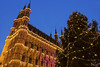Leuven City Hall in Belgium (prosiaczeq) Tags: leuvencityhall cityhall government belgium europe city building structure architecture style design magnificent christmas decorations sky blue dusk evening gothic heritage old historic spire sculpture grotemarkt medieval exterior lights leuven townhall christmastree