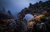 Mystery arch #2 (dwolters2) Tags: k1 pentax arch rock hdr clouds fog foggy pnw washington winter yakimacounty mountclemens