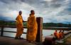 Holly wait (carlosromonbanogon) Tags: monk river water sky clouds orange angkor wat siem reap cambodia camboya street amateur 23mm xt1 fujifilm asia southeast