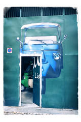 City Mobility  Solution (memories-in-motion) Tags: city mobility transport vespa small environment door blue green wheel future leica q