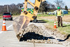 @20171121--D9 Maint-290 (OhioDOT) Tags: 9 district odot backhoe concrete culvert limestone pipe truck water workers