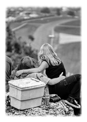 Spectators (nelhiebelv) Tags: roadamerica spectators race track elkhartlake wisconsin bw monochrome couple