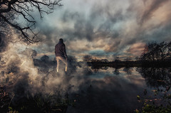 Walking On Clouds (Rob Pitt) Tags: rivacre valley england uk sunset pump pit wirral water reflection rob pitt samyang 8mm fisheye river landscape tree sky wood lake grass serene off camera flash portrait