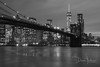 Brooklyn Bridge (Coil Master) Tags: newyork brooklyn bridge night blackwhite nikon1870mmf3556 nikond90 corelaftershotpro slowshutter buildings cityscape