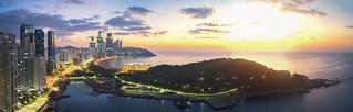 Sunrise over Busan sand beach