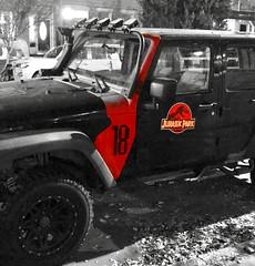 """Life Finds A Way"" ― ""Jurassic Park,"" 1993 🚚 (anokarina) Tags: appleiphone7 carara sanjose rica jeep costarica colorsplash jurassicpark decal decoration sign homage street"