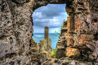 Dunluce Castle. County Antrim.  Behind the ruins.